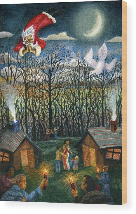 Christmas Wood Print featuring the painting Saint Nicholas Praying For The Recovery Of His Tradition by Craig Gallaway