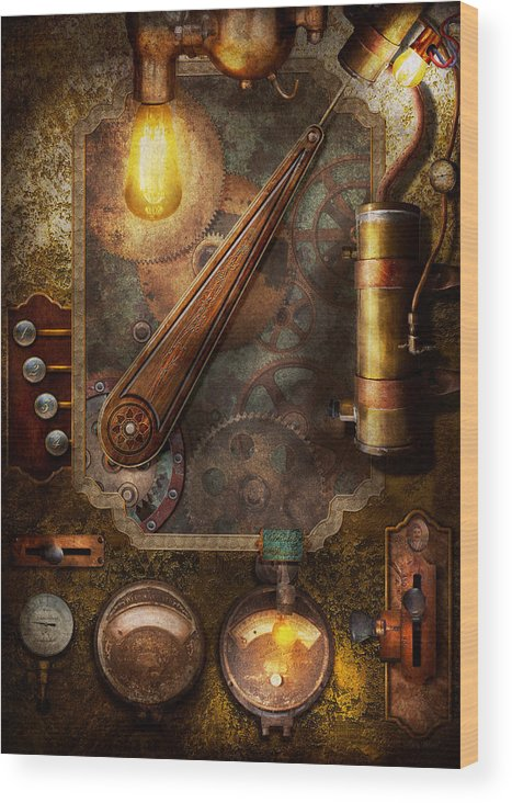 hdr wood print featuring the digital art steampunk - victorian fuse box by  mike savad