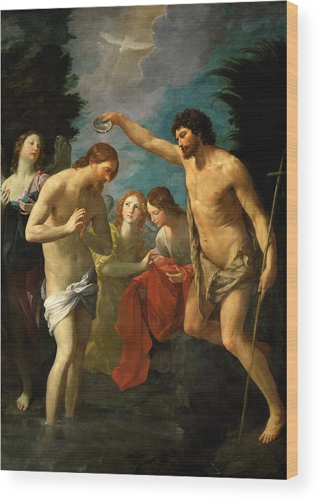 Guido Reni Wood Print featuring the painting The Baptism Of Christ by Guido Reni