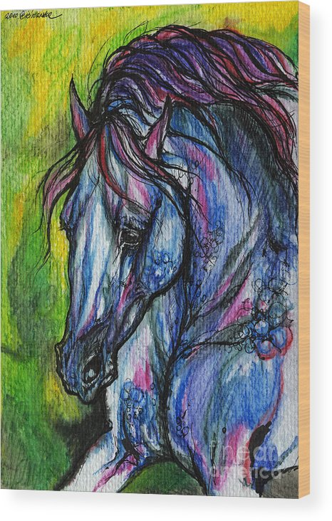 Horse Wood Print featuring the painting The Blue Horse On Green Background by Angel Ciesniarska