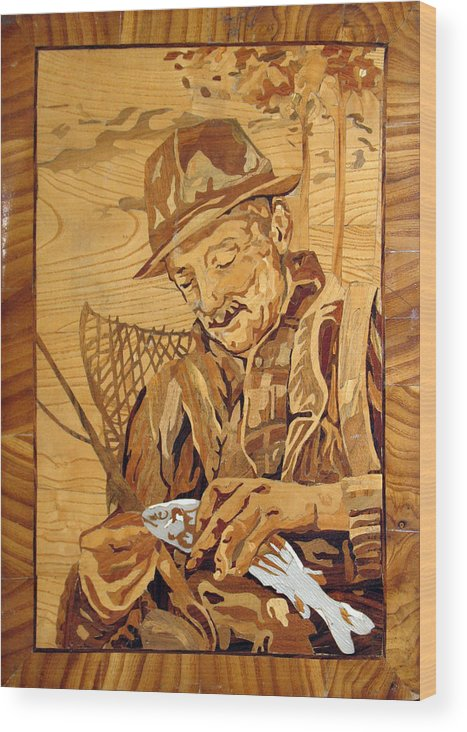 Fisherman Wood Print featuring the sculpture The Fisherman With The Fish by Persian Art