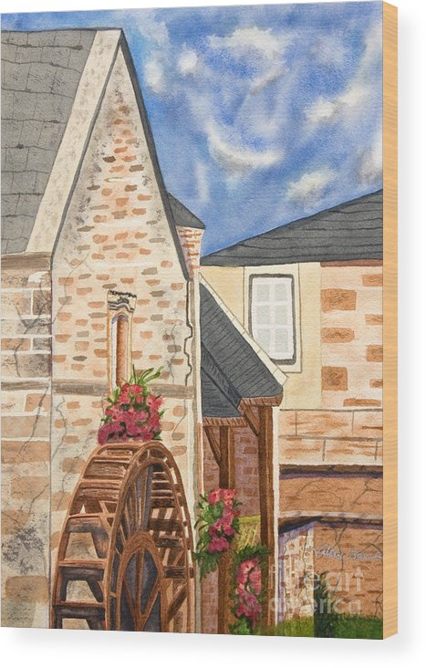 Art Wood Print featuring the painting The Old French Mill Watercolor Art Prints by Valerie Garner