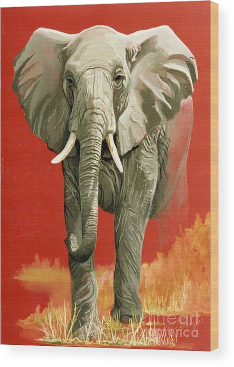 Elephant Wood Print featuring the painting Vanishing Thunder Series by Suzanne Schaefer