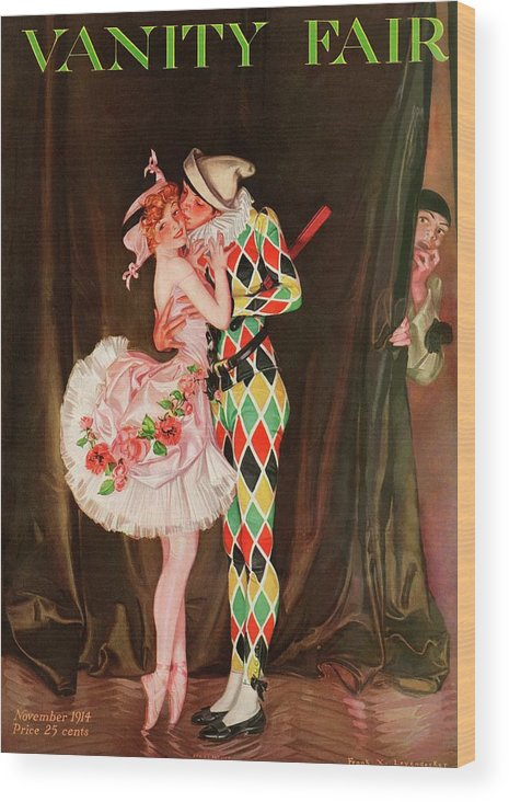 Dance Wood Print featuring the photograph Vanity Fair Cover Featuring A Harlequin by Frank X. Leyendecker
