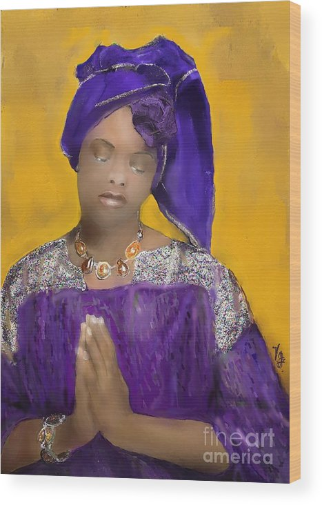 Mixed Medium Wood Print featuring the painting Woman Praying by Vannetta Ferguson