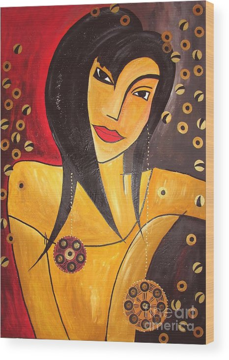 Graphics Wood Print featuring the painting Women 0448 Marucii by Marek Lutek