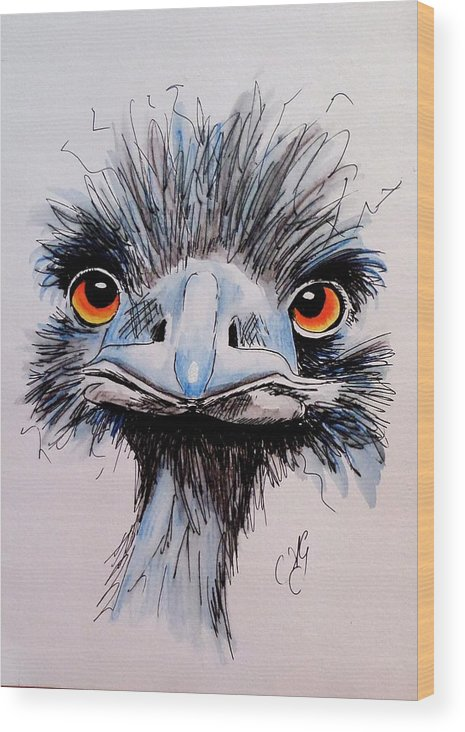 Emu Wood Print featuring the painting You Had Me At Hello by Anne Gardner