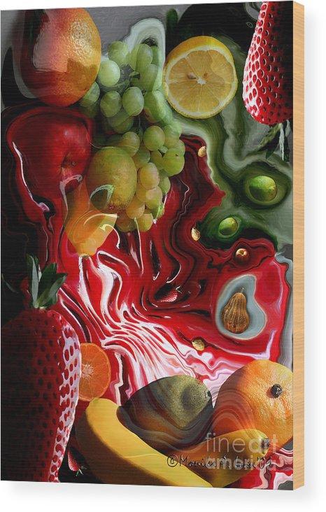 Fruits Wood Print featuring the digital art Fruit Medley by Monika A Leon