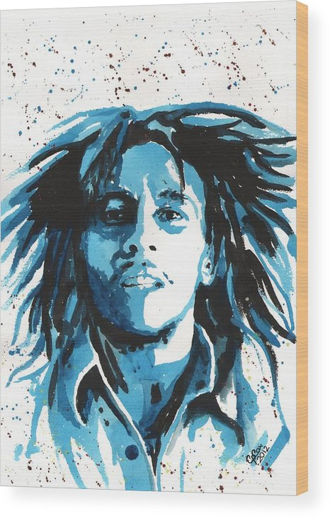 Bob Marley Wood Print featuring the painting Bob Marley by Chris Cox