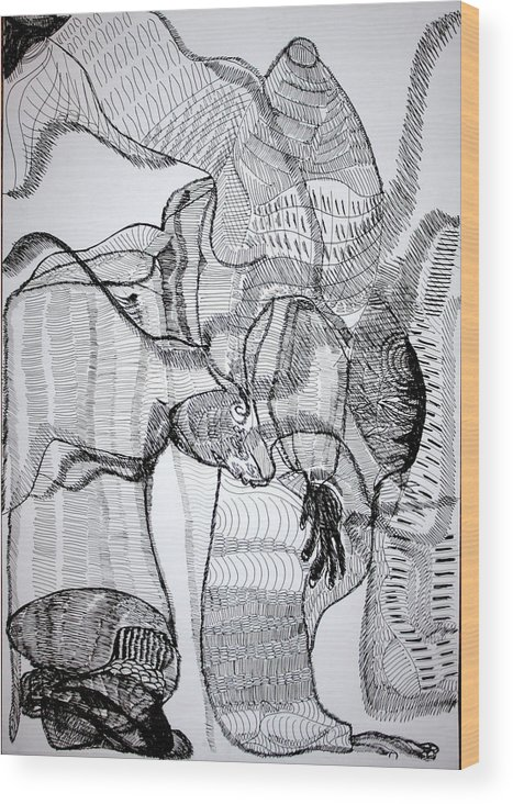 Jesus Wood Print featuring the drawing Capoeira by Gloria Ssali