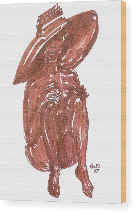 Woman Wood Print featuring the painting Chocalata by Rhetta Hughes