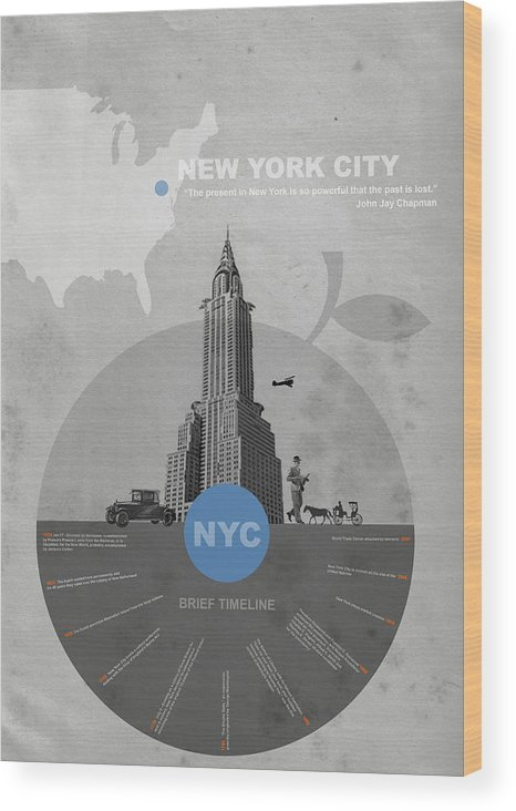 New York Wood Print featuring the photograph Nyc Poster by Naxart Studio