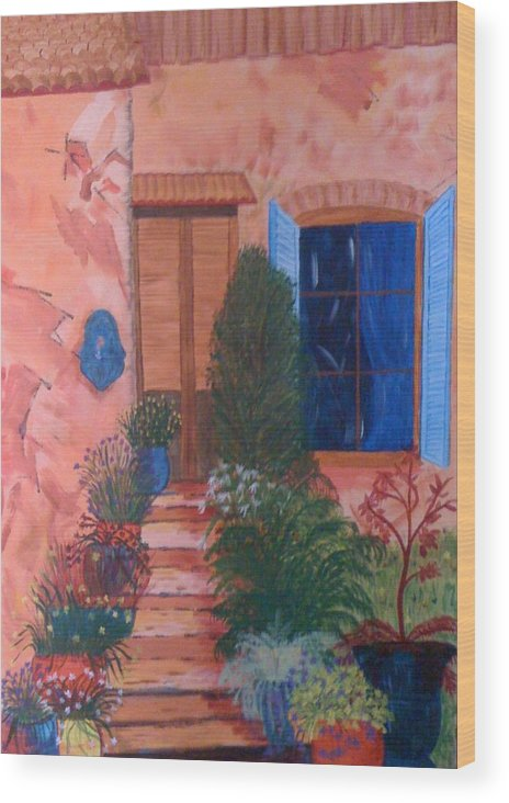 House Wood Print featuring the painting Tuscan Terrace by Judi Goodwin