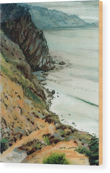 Big Sur Wood Print featuring the drawing Big Sur California by Donald Maier