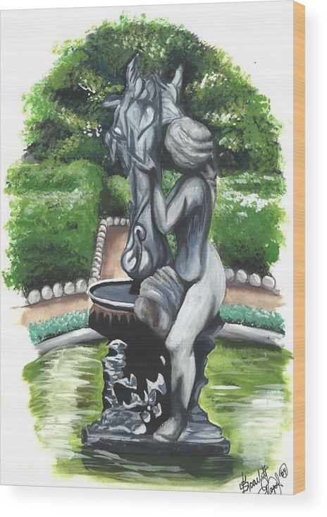 Fountain Wood Print featuring the painting The Hidden Fountain by Scarlett Royal