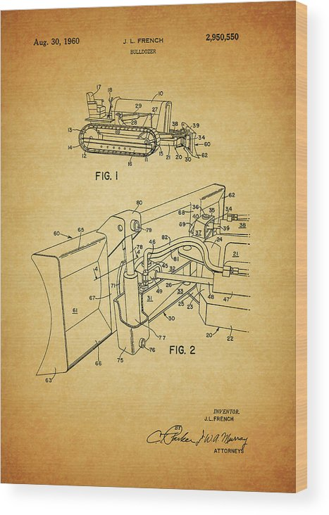 1960 Bulldozer Patent Wood Print featuring the mixed media 1960 Bulldozer Patent by Dan Sproul