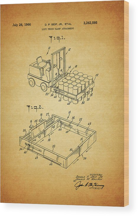 1966 Forklift Clamp Patent Wood Print featuring the mixed media 1966 Forklift Clamp Patent by Dan Sproul