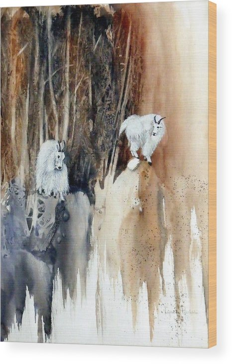 Mt. Goats Wood Print featuring the painting Its Not That Far by Lynne Parker
