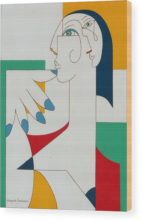 Portrait Wood Print featuring the painting 5 Fingers by Hildegarde Handsaeme