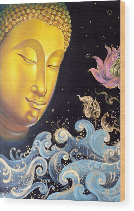 Acrylic Wood Print featuring the painting The Light Of Buddhism by Chonkhet Phanwichien