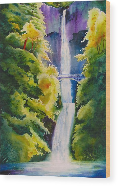 Waterfall Wood Print featuring the painting A Favorite Place by Karen Stark