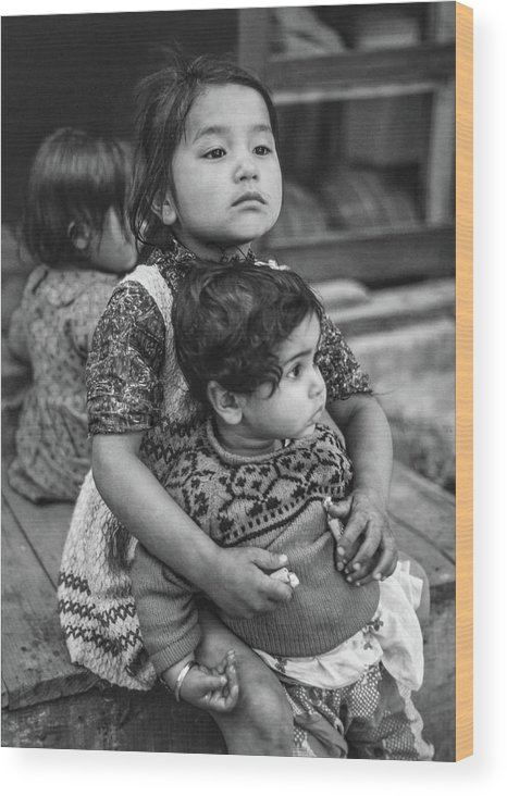 Kids Wood Print featuring the photograph A Proud Sister Bw by Steve Harrington