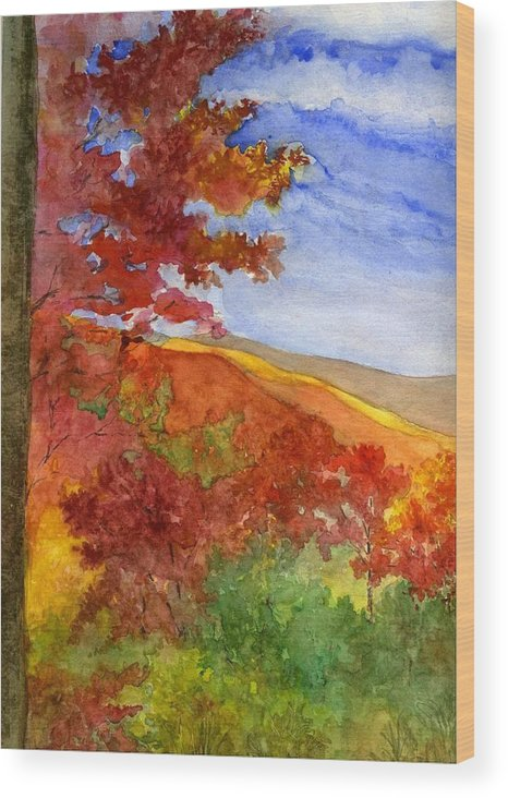 Landscape Wood Print featuring the painting Autumn On The Cherohala Skyway by Lisa Bell