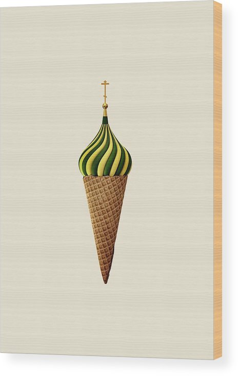 Juxtaposition Wood Print featuring the digital art Basil Flavoured by Nicholas Ely