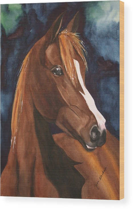 Horse Wood Print featuring the painting Bay On Blue 2 by Jean Blackmer