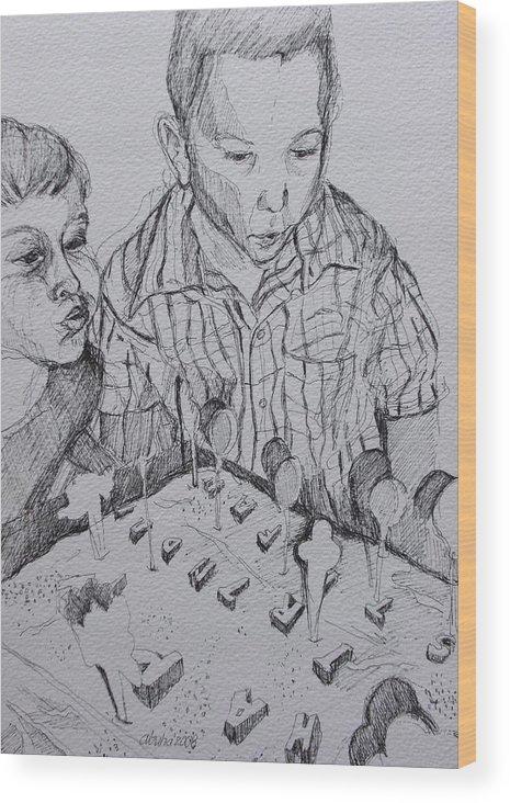 Boy Wood Print featuring the drawing Birthday Boy by Aleksandra Buha