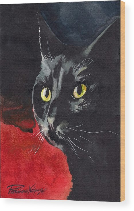 Back Cat Wood Print featuring the painting Black Cat by Yuliya Podlinnova