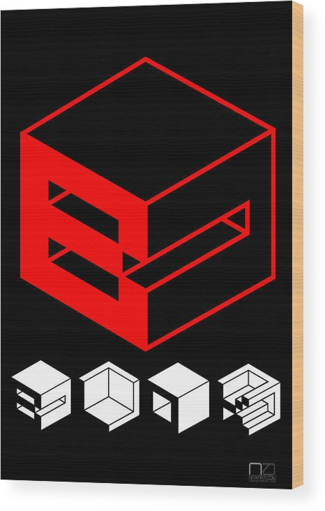 Expression Wood Print featuring the digital art Blok Poster by Naxart Studio