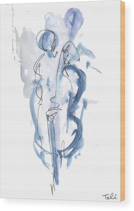 Music Wood Print featuring the painting Blue Note by Tali Farchi