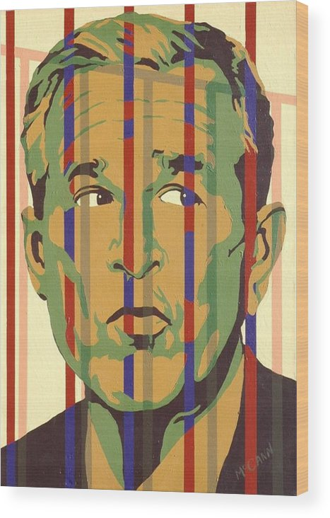 Neocon Wood Print featuring the painting Bush by Dennis McCann