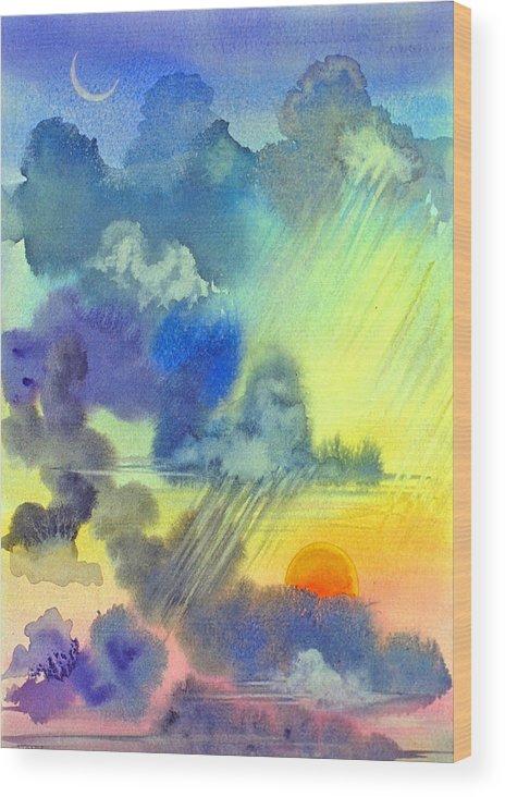 Sunset Crescent Moon Clouds Sky Rain Carribean Tropical Wood Print featuring the painting Carribean Rain At Sunset by Jennifer Baird