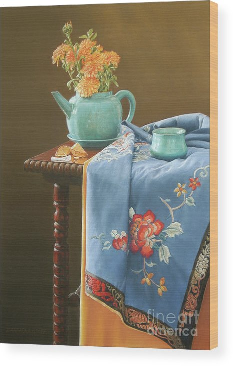 Still Life Wood Print featuring the painting Cookie's Fortune by Barbara Groff
