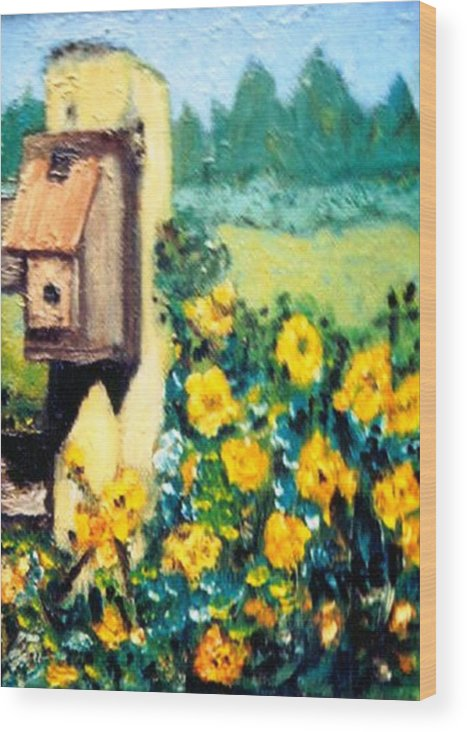 Flowers.bird Feeder Wood Print featuring the painting Country Thumb Print by Gloria M Apfel
