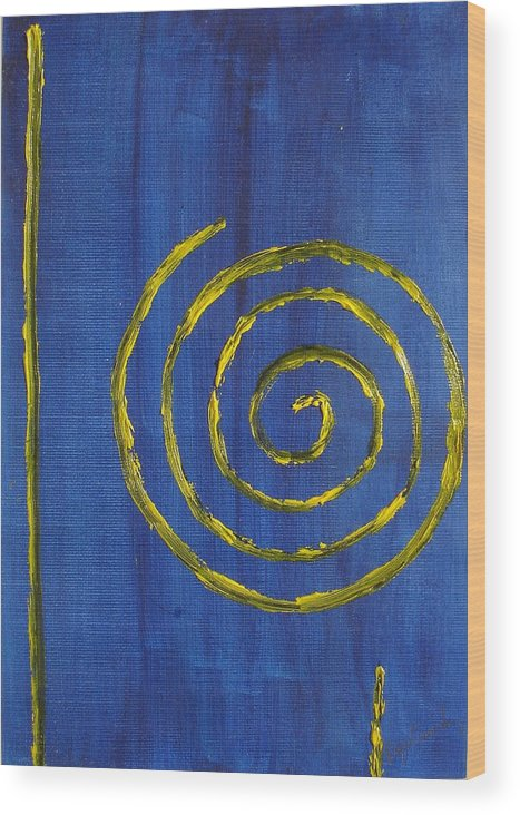 Abstract Oil Painting Wood Print featuring the painting Curlicue Yellow by Roger Cummiskey