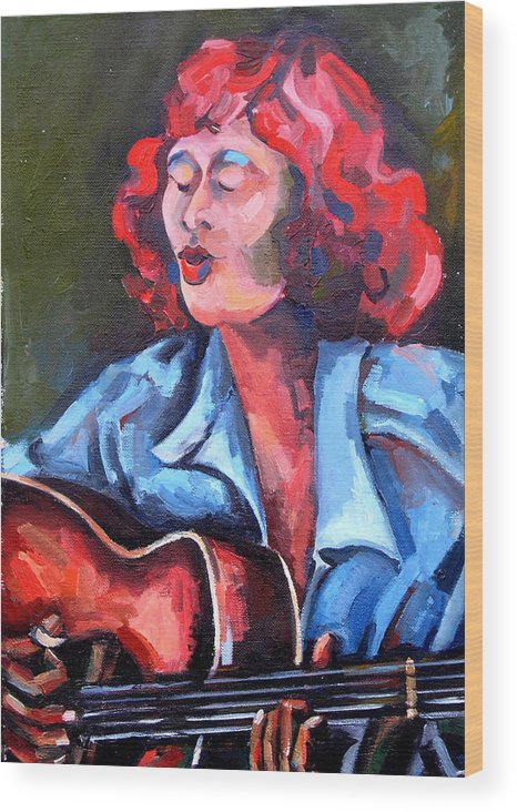 Blues Musician Wood Print featuring the painting Eleanor Ellis - Diving Duck Blues by Jackie Merritt