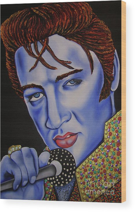Portrait Wood Print featuring the painting Elvis by Nannette Harris