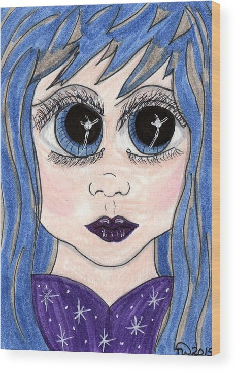 Emo Wood Print featuring the painting Emo Girl I by Tambra Wilcox