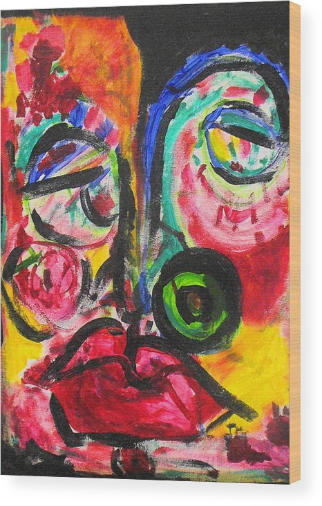 Face Wood Print featuring the painting Faces II by Joyce Goldin