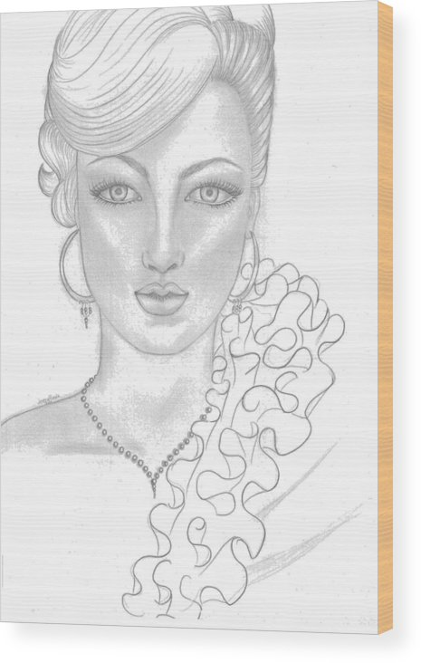 Gilr Wood Print featuring the drawing Fashion Girl by Lorena Farias