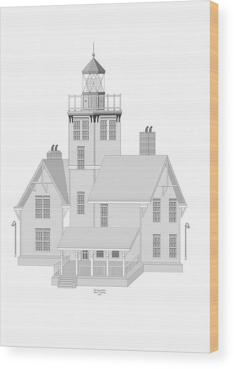 Lighthouse Wood Print featuring the painting Fermin Model Architectural Drawing by Anne Norskog