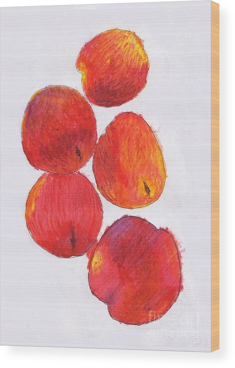 Nectarine Wood Print featuring the drawing Five Nectarines by Andy Mercer
