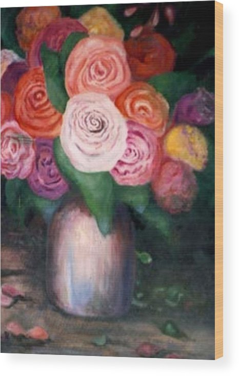 Flowers Wood Print featuring the painting Flower Spirals by Jordana Sands