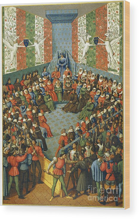 1458 Wood Print featuring the photograph French Court, 1458 by Granger
