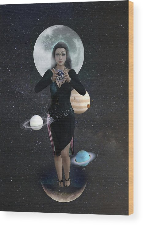 Nyx Wood Print featuring the digital art Goddess Nyx by Jason Bodary
