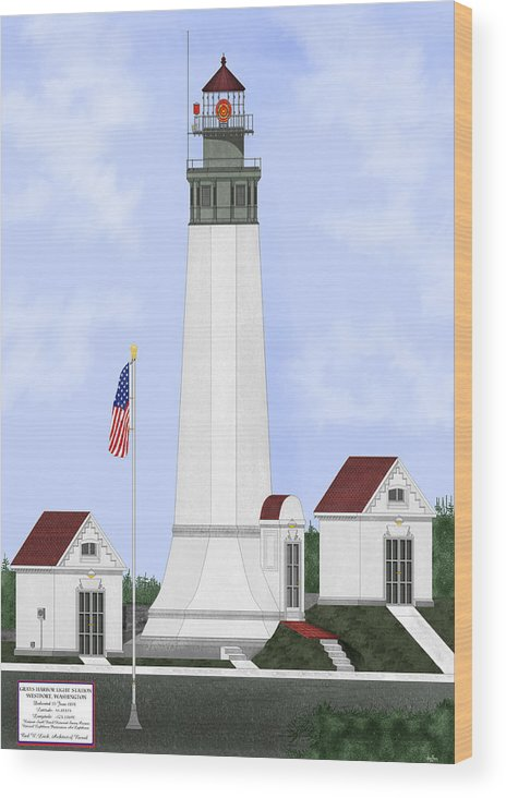 Lighthouse Wood Print featuring the painting Grays Harbor Light Station Historic View by Anne Norskog