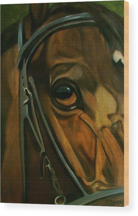 Horse Wood Print featuring the painting Head Stall by Donna Thomas